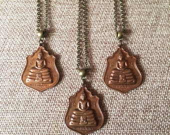 Buddha Charm Necklace / Copper Thai Buddha Pendant on Bronze Rolo Chain / Mens Buddha Necklace / Mens Jewelry / Mixed Metals Necklace