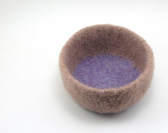 Felted wool bowl - wool felt bowl - office decor - almond and lilac
