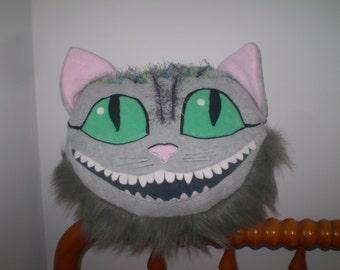 Alice in Wonderland pillow- OOAK CHESHIRE CAT pillow for Alice fans- Soft Handmade Cheshire cat pillow