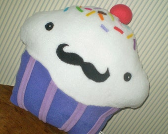 Custom Cupcake pillow- have it your way- with mustache or goth cupcake- custom made to your colors and design