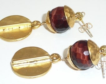 Mahogany - tiger's eye earrings accented with gold
