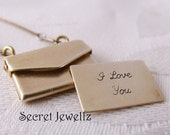 Locket, Envelope Locket, Brass Locket, I love You Necklace, Vintage Brass Chain, Message Necklace, Gifts For Her