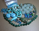 Blue Green and Turquoise Beads Assortment Variety Mixed Lot Destash Beads Aventurine Howlite Turquoise Jewelry Making