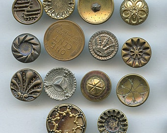 Lot of Victorian Metal Buttons Wholesale Bakers Dozen (13) Small Antique MORE AVAILABLE 1670