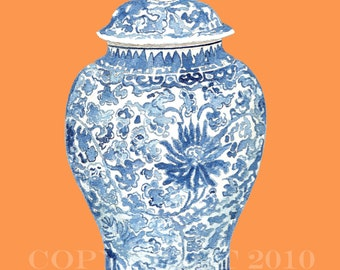 BLUE & WHITE GINGER Jar on Tangerine Print