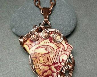 Sea China Red Floral Pendant Necklace with Rose Gold Freeform Wire Wrap