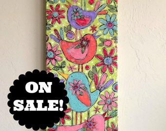 SALE PRICED! Busy Mom Original Mixed-Media Collage Acrylic Sweet Bird Garden Floral Painting