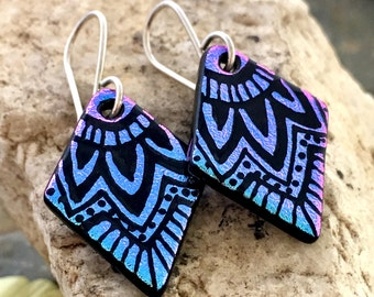 SMALL Mandala Hand Etched Dichroic Earrings Fused Glass & Sterling Silver Handmade Wires PURPLE PINK