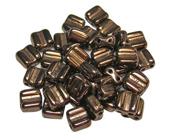 Czech Tile Beads 6mm Metallic Dark Bronze 2 Hole Groovy Tile Beads 40pcs (2160) 6mm Tile Beads || Czech Glass Beads