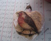 Robin - Christmas Ornament - Collage Bird - Mixed Media - Heart