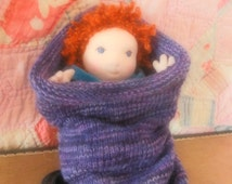 Custom order Waldorf Baby Doll, with Hand Knit  Baby Cocoon