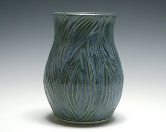 Small Vase with Wood Grain Carving in Smoke Blue