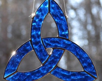Stained Glass Cobalt Blue Celtic Trefoil