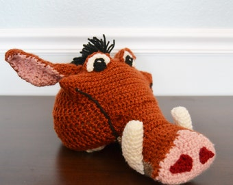 Crochet Pumbaa the Warthog Hat - Cartoon Costume Hat - Lion King - Silly and Chunky Crochet Hat - Pumba