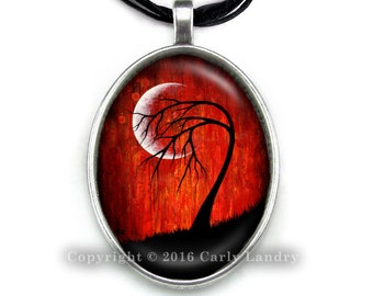 Red Crescent Moon Black Tree Pendant Necklace Handmade Jewelry Art Gothic Ribbon Organza Silver Cabochon Abstract Low Brow Artwork Gift
