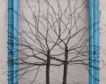 Original Unique Art Large Tree Abstract Sculpture ... Wire tree on vintage ornate shabby style salvaged turquoise blue frame