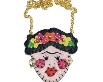 Leather Frida Kahlo Necklace