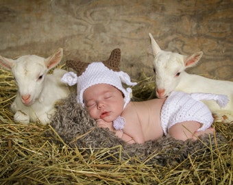 newborn baby goat hat and diaper cover set baby boy photography prop