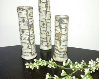 3 slender birch tree bark style vases, handmade ceramic pottery decorative accents white and black