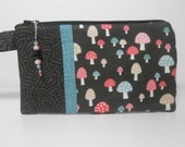 Black Wristlet with Pink and Green Mushrooms with Beaded Zipper Pull