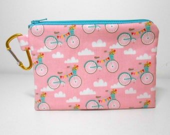 Bicycle Change Purse, Pink and Aqua Bikes Large Carabiner Coin Purse