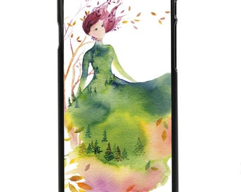"""Phone Case """"Fallen Leaves"""" - Watercolor Art Giclee Print Fashion Sketch design Autumn Spirit lady Woman Nature Watercolor By Olga Cuttell"""