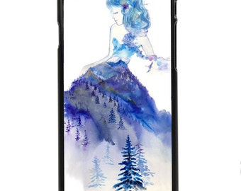 """Phone Case """"Jazz"""" - Watercolor Art Giclee Print Winter Princess Fashion Sketch Baby Blue Mountain Lady By Olga Cuttell"""