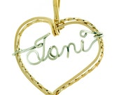 Double Wire Heart Necklace, Personalized,