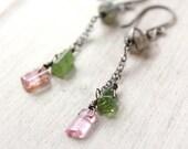 Labradorite and Tourmaline Crystal Dangle Earrings