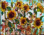 Sunflower art | Sunflower painting | collage art | mixed media art | ORIGINAL canvas art | butterflies garden yellow gold teal blue