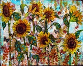 Sunflower art | Sunflower painting | collage art | mixed media art | butterflies garden yellow gold teal blue PRINT picture artwork