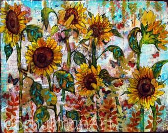 Sunflower art | Sunflower painting | collage art | mixed media art | butterflies garden yellow gold teal blue PRINT picture artwork