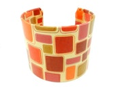 Cuff Bracelet, Bracelet Cuff, Art Cuff, Decoupage Bracelet Cuff, Geometric Design, Orange Jewelry, Abstract Style, Orange Bracelet