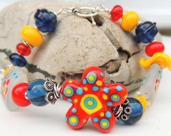 COUNTRY GIRL Handmade Lampwork Bead Bracelet