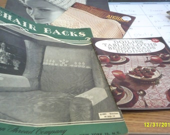 Two vintage crocheting magazines chair backs, dolies,tableclothes,bedspreads,edgings