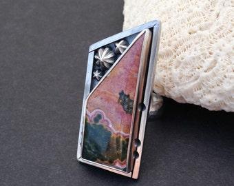 Pink Ocean Jasper Sterling Silver Ring, Size 9 Handmade Stone Ring, Statement Ring, Handcrafted Artisan Metalsmith Ring, Bohemian Ring