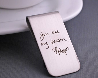 Custom Handwriting Money Clip, Christmas Gift, Personalized Gift for Him, Custom Handwriting Gift for Husband