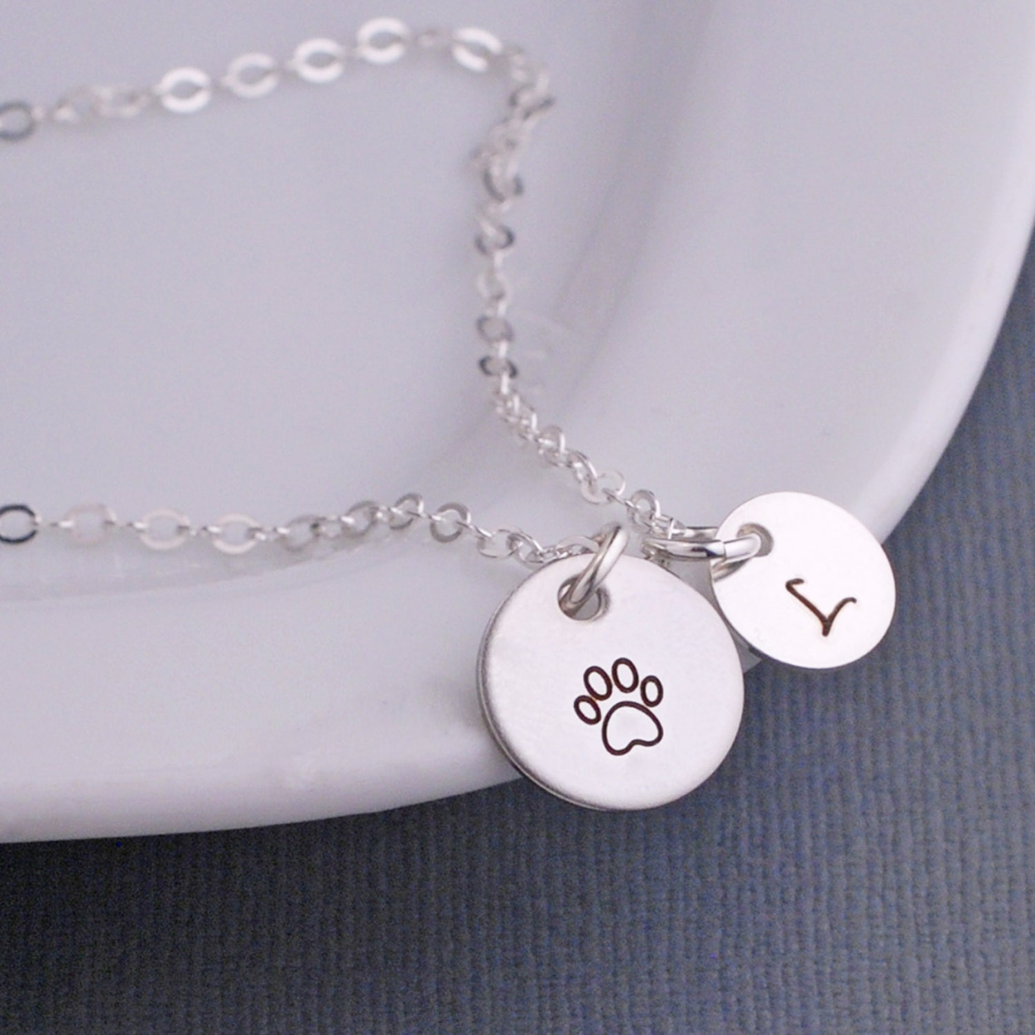 paw print necklace custom pet memorial necklace personalized