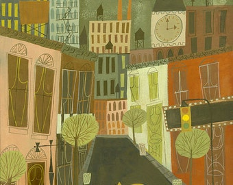 Greenwich Village. Limited edition print by Matte Stephens.