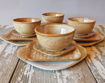 Farmhouse Pottery Dinnerware - BUILD YOUR OWN Farm to Table set - Rustic - Handmade Pottery - Dishes - Place setting