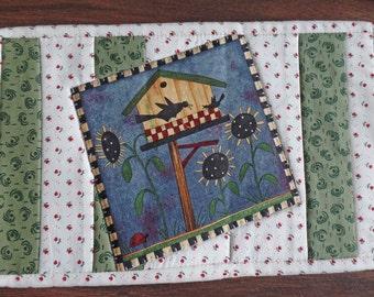 Mug Rug. Candle mat. Bird mug rug. Mini quilt. Snack mat.