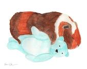Guinea Pig Art Print, Small Pet Gift, Nursery Art Print, Watercolor Illustration 8x10, Cute Kid Art, Animal Art, Kids Room Decor, Kawaii Art