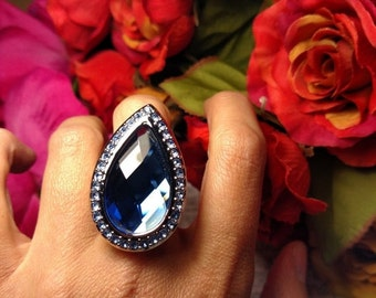 SALE TODAY Huge Tear Drop Blue Rhinestone Crystal Cocktail Statement Ring Vintage Silver Tone Size 8