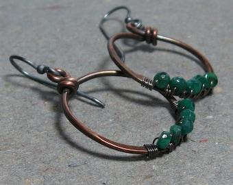 Emerald Earrings Copper Hoop May Birthstone Wire Wrapped Oxidized Sterling Silver Earrings