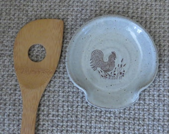 Spoon Rest - Handmade Stoneware Pottery Ceramic - White - Rooster