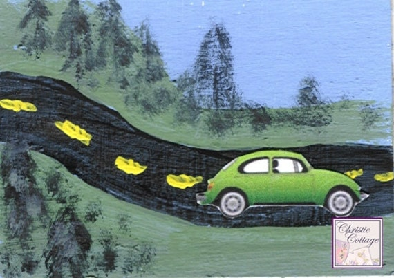 VW Bug, ACEO, Mixed Media Original Art, Green Slug Bug, Volkswagen