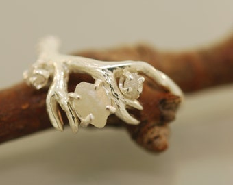 Antler Ring 2 with rough diamond,rough diamond ring,alternative engagement ring, twig ring, twig diamond ring, antler ring