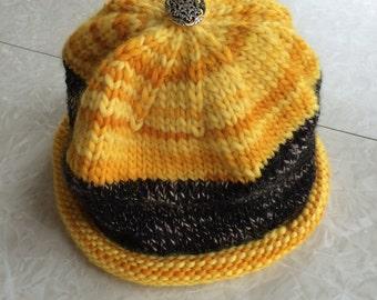 Handknit  bold striped wool hat
