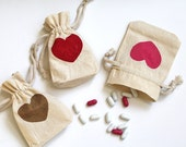 Wedding favors. heart fabric draw string gift bags. Valentine's Day natural muslin Party favors. Bridal shower candy nuts mint bags. 10count