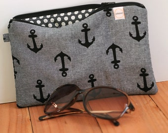 Navy blue anchors padded zipper wallet, cash envelope, pouch. Gray and black purse nautical. Journal bible cover for pens pencil markers